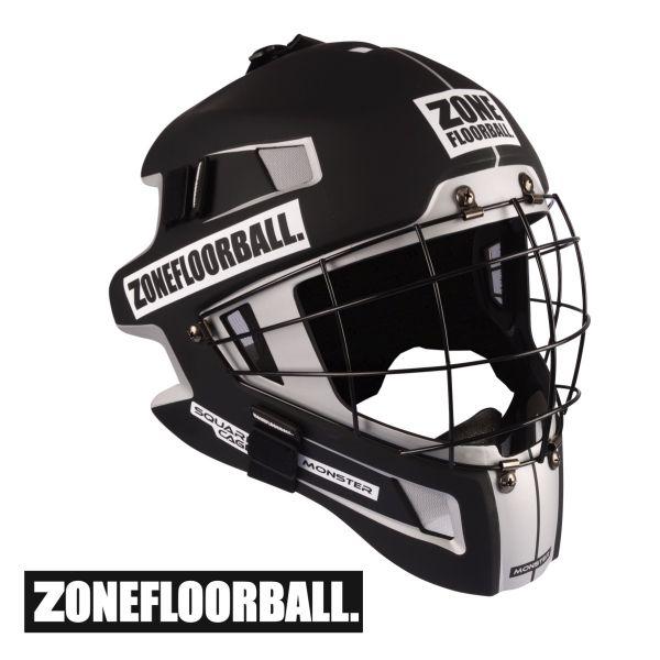Floorball Helm - Zone MONSTER SQUARE CAGE Maske schwarz/weiß