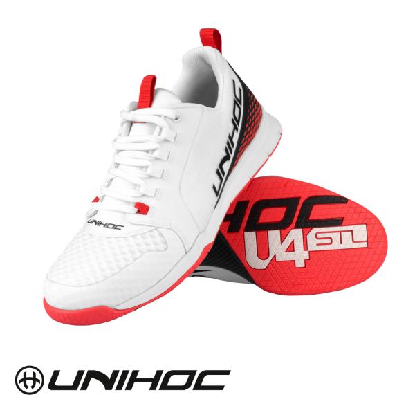 Unihoc Schuhe U4 PLUS LowCut weiß/rot