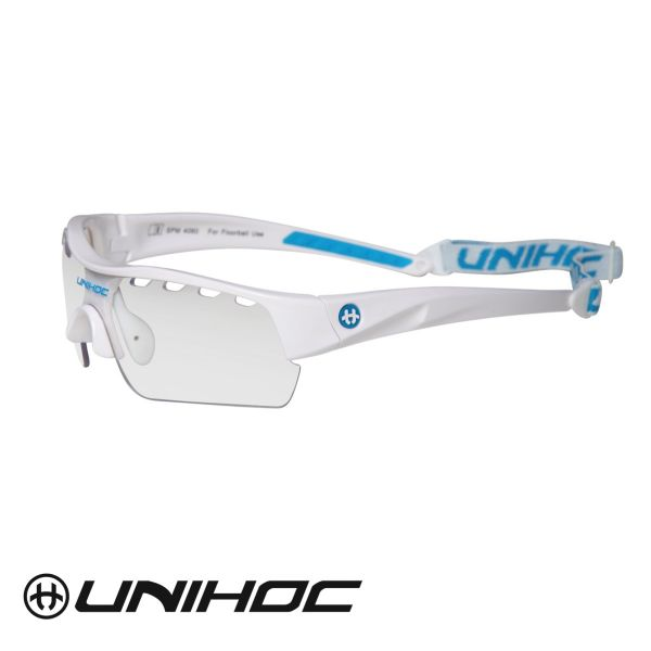 Floorball Sportbrille Unihoc VICTORY Junior weiß/blau