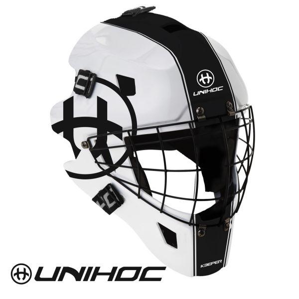 Floorball Torhüter Helm Unihoc KEEPER 44 Maske weiß/schwarz