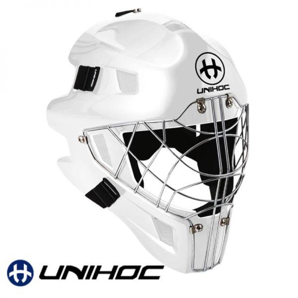 Floorball Maske Unihoc OPTIMA 66 Maske komplett weiß