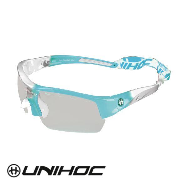 Floorball Brille für Kinder - Unihoc Victory Kids Türkis weiß