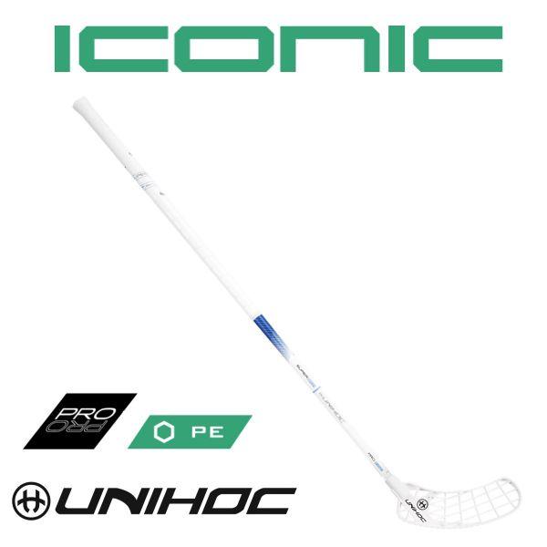 Floorball Schläger Unihoc ICONIC Superskin Pro 26 weiß/blau