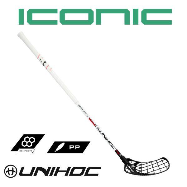 Floorball Schläger Unihoc ICONIC FeatherLight Composite 28 weiß/schwarz