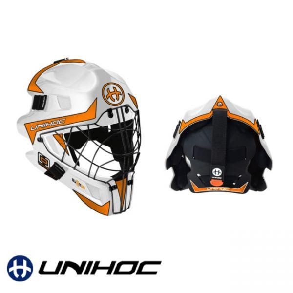 Floorball Helm - Unihoc SUMMIT 66 OPTIMA Maske weiß