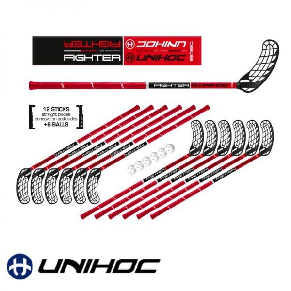 Floorball Schul-Set - Unihoc Fighter rot - Set
