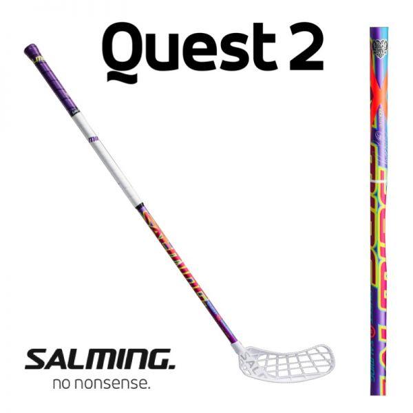 Floorballschläger Salming QUEST 2 X-Shaft KickZone 27 lila/weiß - Rasmus Sundstedt Edition