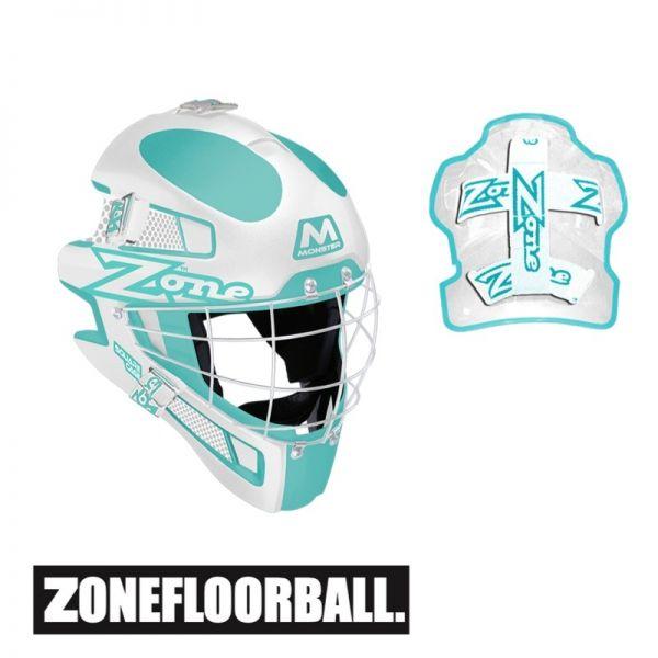Zone MONSTER Square Cage Maske türkis/weiß