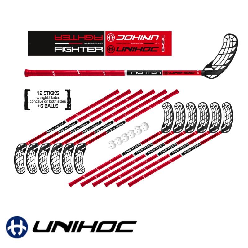 80cm NEU Unihoc Floorball Schläger Set Original Unihockey 12 Schläger +6 Bälle