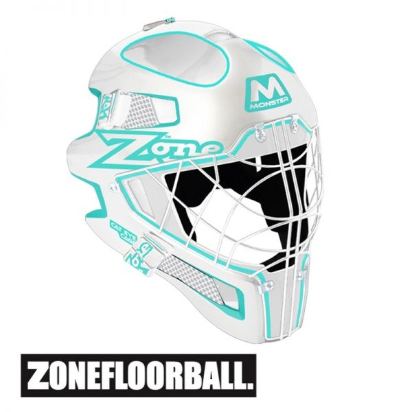 Floorball Helm - Zone MONSTER Cat Eye Cage Maske weiß/türkis