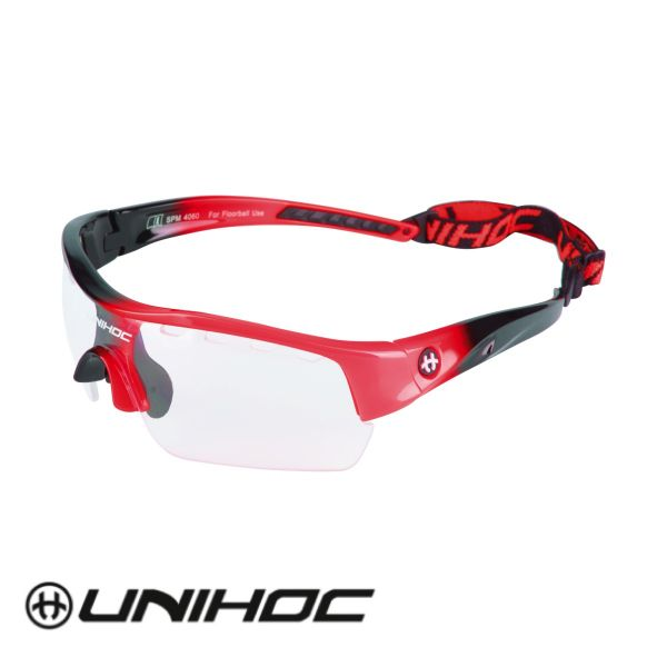 Floorball Brille für Jugendliche - Unihoc VICTORY Junior schwarz/rot
