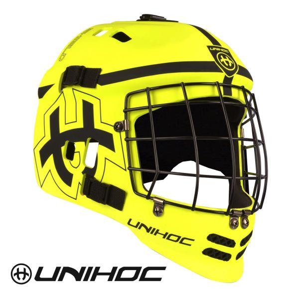 Floorball Torhüter Helm - Unihoc Shield schwarz gelb