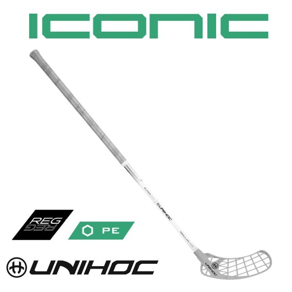 Floorball Schläger Unihoc ICONIC Superskin Regular 24 weiß/silber