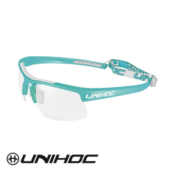 Unihoc Floorball Sportbrille ENERGY Junior türkis/weiß