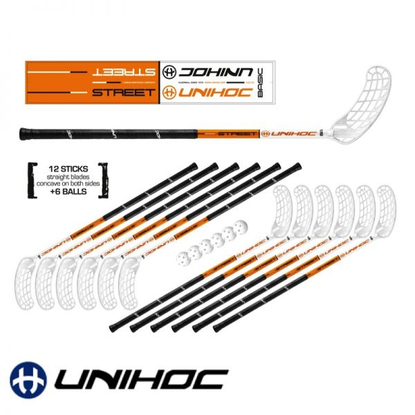 Floorball Unihockey Set - Unihoc STREET orange