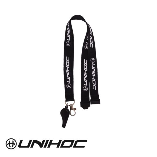 Unihoc Pfeife mit Schlüsselband COACH WHISTLE schwarz