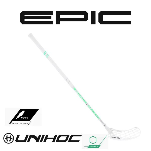 Floorball Schläger - Unihoc Epic Supertoplight 26 weiß türkis
