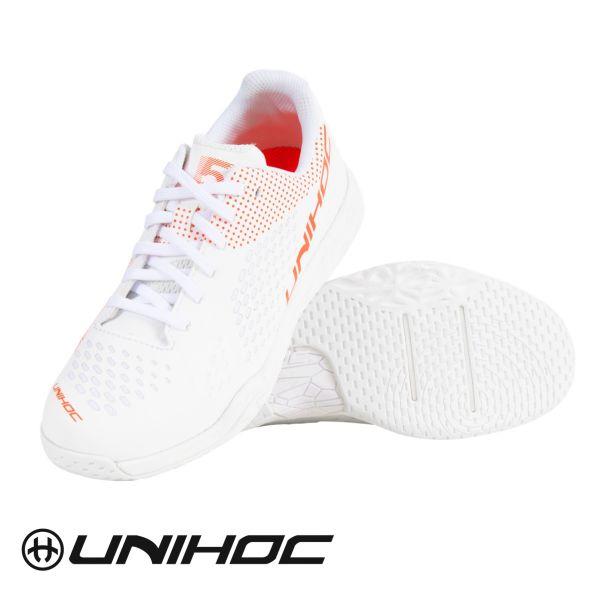 Floorball Damen Schuh Unihoc Schuh U5 PRO LowCut Women weiß/coral