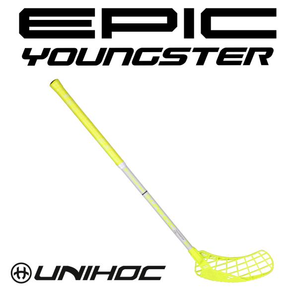 Kinder Floorball Schläger - Unihoc EPIC Youngster 36 neon gelb/weiß