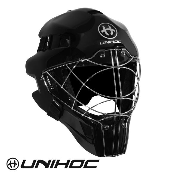 Floorball Torhüter Maske Unihoc OPTIMA 66 Maske komplett schwarz